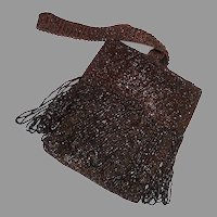 Art Deco Brown Beaded Fringed Flapper Purse