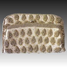 Gold Beaded Beige Silk Satin Evening Clutch Purse
