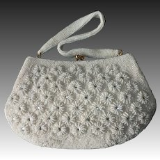 White Beaded & Rhinestone Daisy Pattern Purse