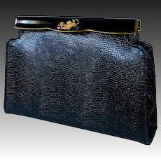 Fine Quality Lizard All Leather Clutch Purse Enamel Frame