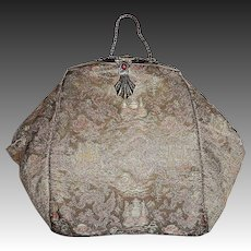 Silk Brocade Jeweled Top Evening Purse Oriental Motif