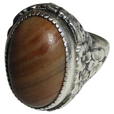 Arts & Crafts Sterling Striped Agate Ring - Red Tag Sale Item