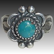 Native American Sterling & Turquoise Child's Ring