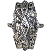 Art Deco Domed & Layered Sterling & Marcasite Ring
