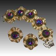 Judy Lee Bracelet & Earring Set Vibrant Rivoli Rhinestones