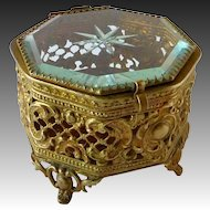 Gold Tone Octogonal Metal Filigree & Beveled Glass Trinket Box