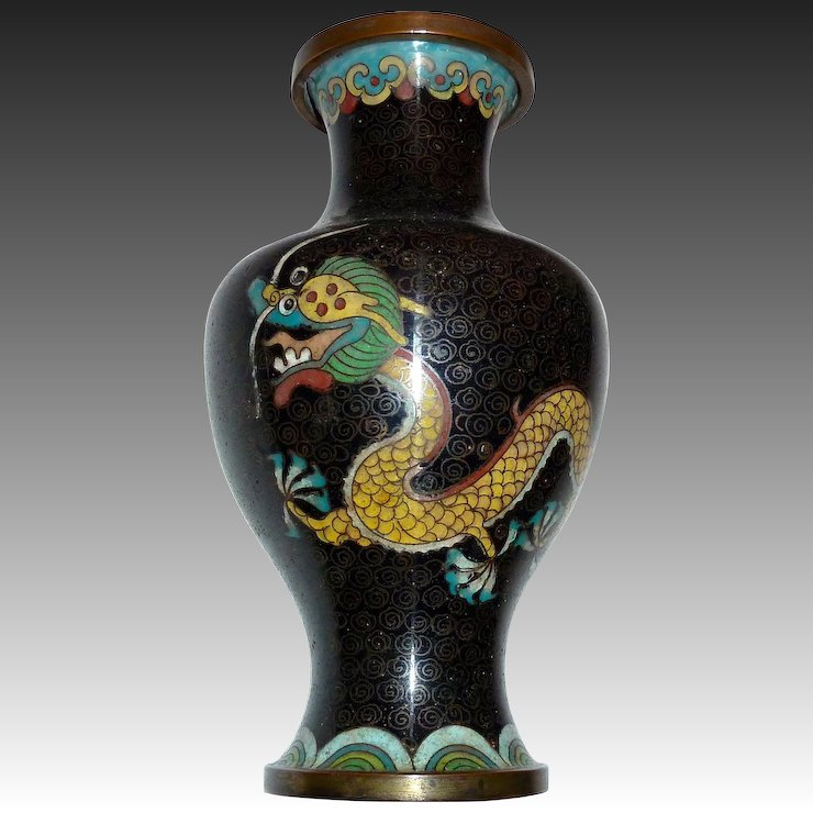 Chinese Cloisonne Enamel Double Dragon Vase Bejewelled Ruby Lane