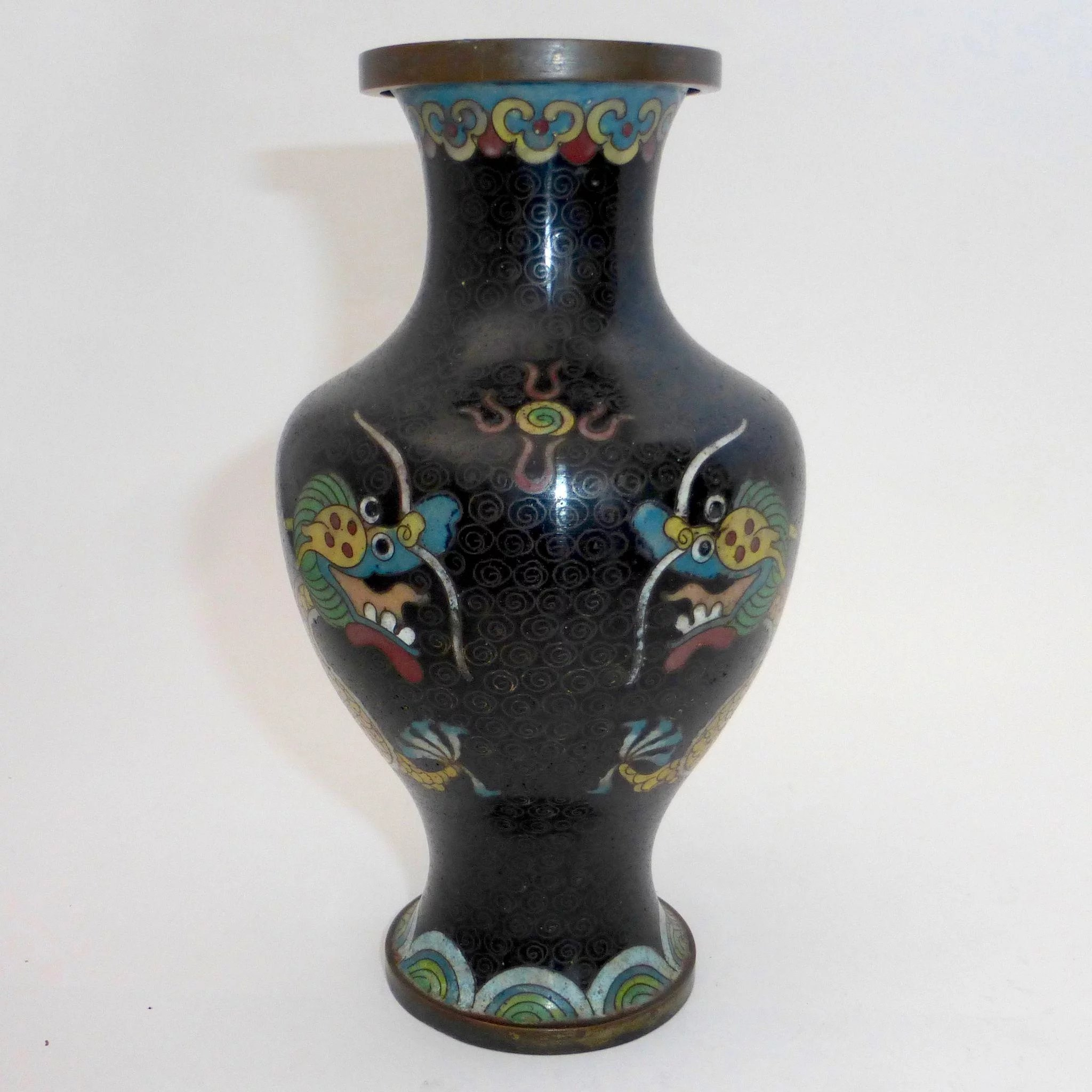 Chinese cloisonne enamel double dragon vase bejewelled ruby lane chinese cloisonne enamel double dragon vase click to expand reviewsmspy