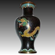 Chinese Cloisonne Enamel Double Dragon Vase