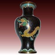 Chinese Cloisonne Enamel Double Dragon Vase