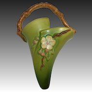 Roseville Pottery Apple Blossom WallPocket Twig Handle