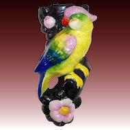 Porcelain Figural Parrot Bird Wall Pocket