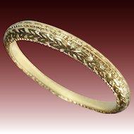 18k Yellow Gold Band Ring Embossed Pattern