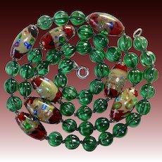 Art Deco Venetian Foil Beads & Green Melon Glass Bead Necklace