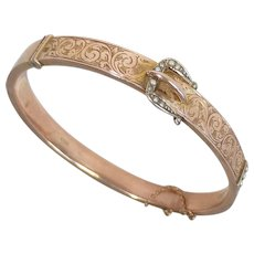 Chester, England 9k Rose Gold Engraved Buckle Motif Bracelet 1911