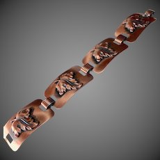 Copper Large Panel Link Bracelet w Repousse Leaves