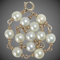 Gold Filled Cultured Pearl Link Bracelet