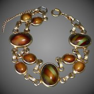 Gold Tone Art Glass Cabochon Bracelet in Autumn Colors