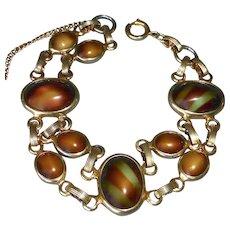 Gold Tone Art Glass Cabochon Bracelet in Autumn Colors