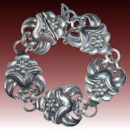 Sterling Silver Floral Link Viking Craft Bracelet