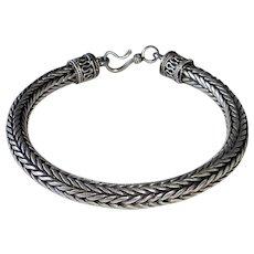 Heavy Sterling Woven Large Size Chain Bracelet Decorative Ends