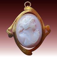 Antique 10k Art Nouveau Rosalyn Shell Cameo Pin/ Pendant
