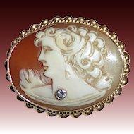14k Shell Cameo Pendant/Brooch Woman w Diamond Necklace