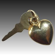 14k Heart & Key 2 Piece Charm