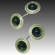 Art Deco Double Sided Green Faceted Glass Cufflinks