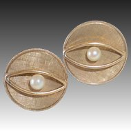 Mid Century Mod Gold Filled Cufflinks Cultured Pearls
