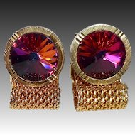 Watermelon Rivoli Gold Tone Fold Over Mesh Cufflinks
