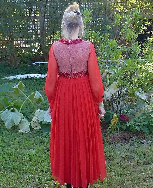 Fire Engine Red Diaphanous Beaded & Embellished Ball Gown c1960s ...
