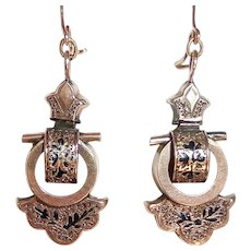 10k Victorian Rose Gold Pierced Earrings Tracery Enamel