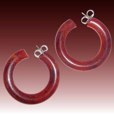 Vintage Storestock EOD Orange Bakelite Pierced Hoop Earrings