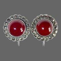 Art Deco Sterling Silver Marcasite Carnelian Cabochon Earrings