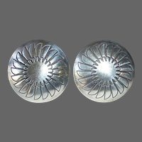 Sterling Domed & Stamped Clip Earrings
