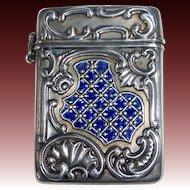 Sterling & Cobalt Blue Enamel Repousse Box