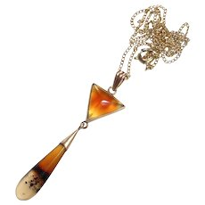 Art Deco 10k Striped Agate Drop Lavaliere Necklace GF Chain