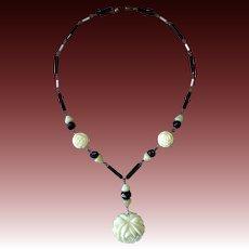 Art Deco Black & White Beaded Necklace Rose Drop