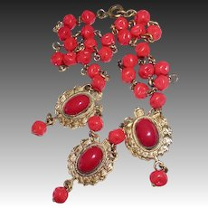 Victorian Revival Necklace Gilt Brass & Glass Cabochon Drops & Red Bead Chain