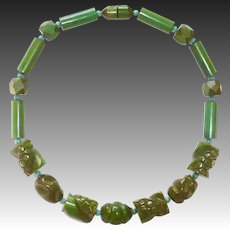 EOD Green Bakelite Chunky Carved Bead Necklace