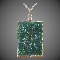 14k & Carved Spinach Jade Pendant Necklace
