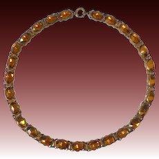 Art Deco Amber Vauxhall Glass Jewel Dog Collar Necklace