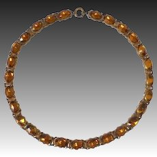 Art Deco Amber Vauxhall Glass Jewel Dog Collar Necklace
