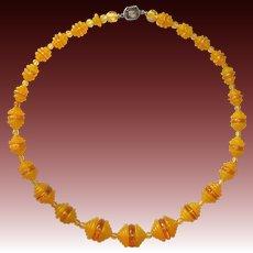 Czech Art Deco Stepped Glass Bead Necklace