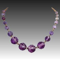 Art Deco Graduated Faceted Amethyst Bead Gold Filled Necklace