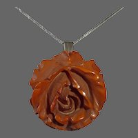 Carved Butterscotch Bakelite Rose Pendant on Sterling Chain