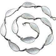 Denmark Sterling Enamel Leaf Necklace Meka
