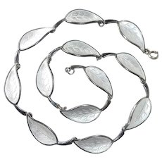 Denmark Sterling Enamel Leaf Necklace Meka