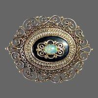 14k Victorian Revival Pendant/Pin Opal Onyx Seed Pearl